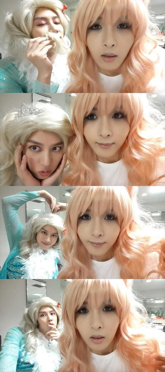 """SUPER JUNIOR ヒチョル&リョウク、衝撃の女装姿を公開…""""似合いすぎて困惑"""""""