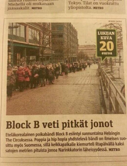 Block B、フィンランドの新聞に登場!ヨーロッパ公演について報じる