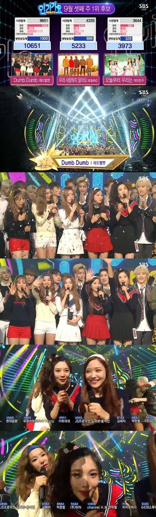 Red Velvetの新曲「Dumb Dumb」地上波番組で初めての1位を獲得!