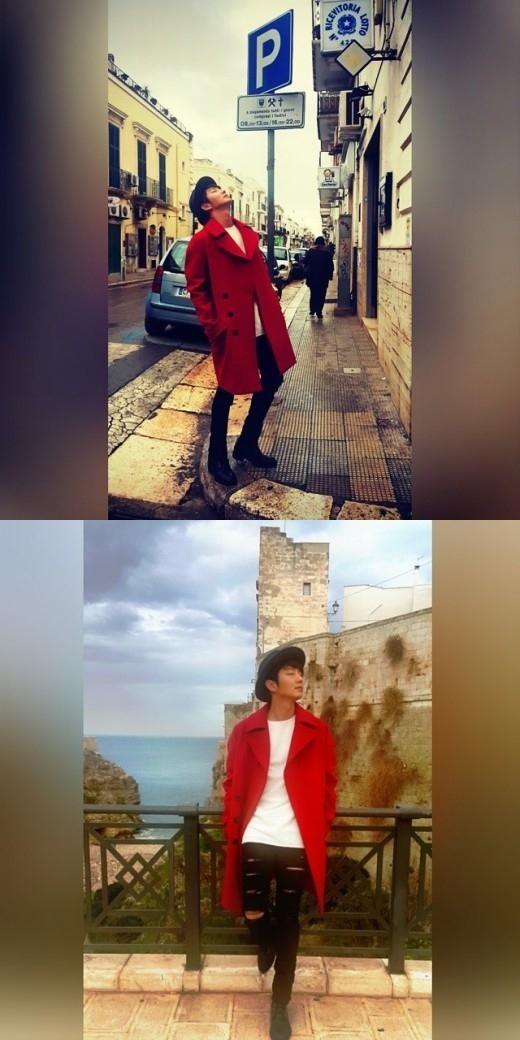 """イ・ジュンギ、イタリアでの近況公開""""赤いコートでモデルのオーラ"""""""