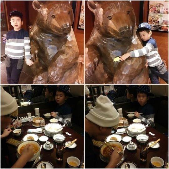 """ユン・ミンス&ユン・フくん、旧正月連休に家族旅行…クマの置物を""""ギュッ"""""""