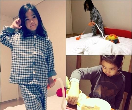 TABLOの娘ハルちゃん、キュートな掃除中の写真を公開「1歳とったからお姉さんよ」